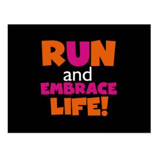 Orange Pink Text Fitness Running Runner Marathon Postcard