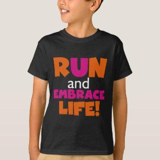 Orange Pink Text Fitness Running Runner Marathon T-Shirt