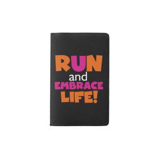 Orange Pink Text Run Runner Marathon Pocket Moleskine Notebook