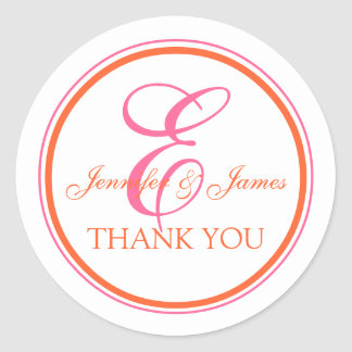 Orange Pink Thank You Stickers for Weddings