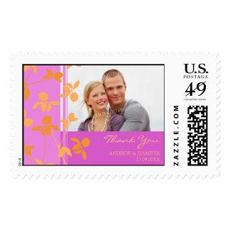 Orange Pink Thank You Wedding Stamps