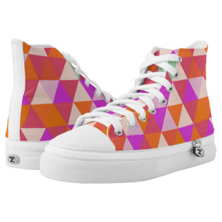 Orange & Pink Triangle Pattern High Top Shoes
