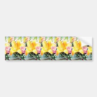 orange pink wedding flowers star lily rose bumper sticker