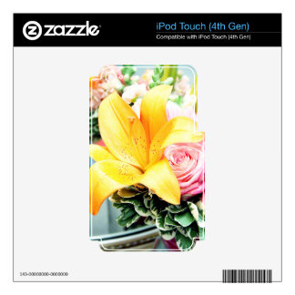 orange pink wedding flowers star lily rose decal for iPod touch 4G
