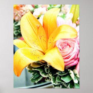 orange pink wedding flowers star lily rose poster