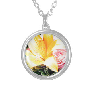 orange pink wedding flowers star lily rose silver plated necklace