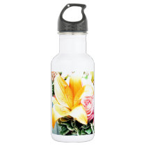 orange pink wedding flowers star lily rose stainless steel water bottle