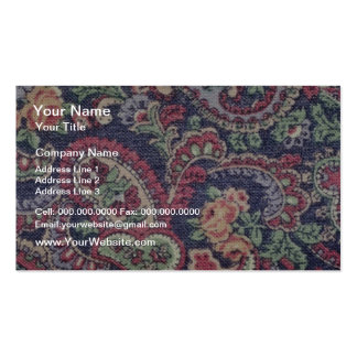 Orange Pink white and green flowers with paisley Business Card Template