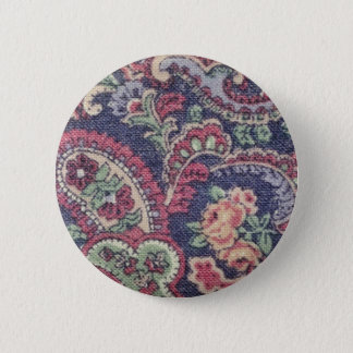 Orange Pink, white and green flowers with paisley Pinback Button