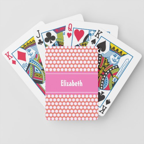 Orange Pink White Custom Personalized Monogrammed Bicycle Playing Cards