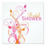 Orange Pink White Floral Bridal Shower Invitation