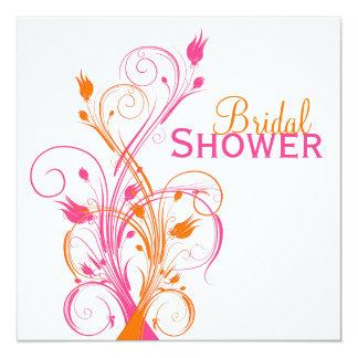 "Orange Pink White Floral Bridal Shower Invitation 5.25"" Square Invitation Card"