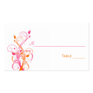 Orange Pink White Floral Place Cards