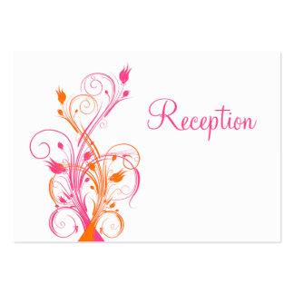 Orange Pink White Floral Reception Enclosure Card