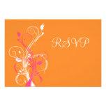 Orange Pink White Floral RSVP Card Personalized Invitation