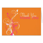 Orange Pink White Floral Thank You Card Greeting Cards