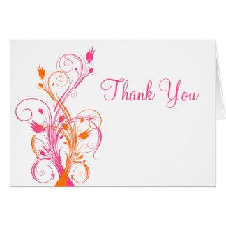 Orange Pink White Floral Thank You Card Greeting Card
