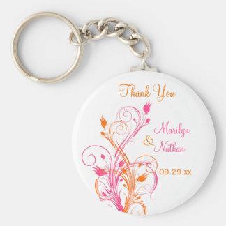 Orange Pink White Floral Wedding Favor Key Chain