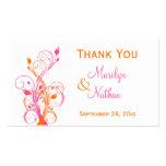 Orange Pink White Floral Wedding Favor Tag Business Card Templates