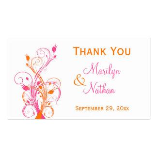 Orange Pink White Floral Wedding Favor Tag Business Card