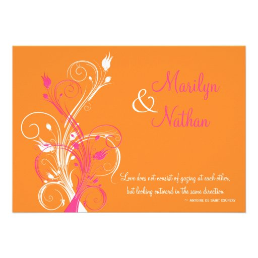 Orange Pink White Floral Wedding Invitation 5 X 7 Invitation Card