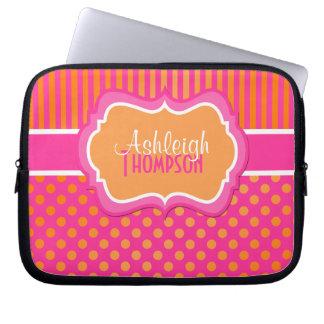Orange Pink White Polka Dot Stripe Laptop Sleeve