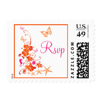 Orange, Pink, White Tropical Beach RSVP Postage