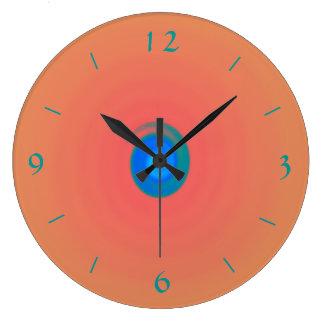 Orange/pink with Aqua/Blue Centre >Wall Clock