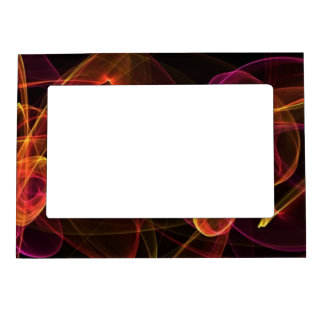 Orange, Pink, Yellow, on Black Background Magnetic Photo Frames