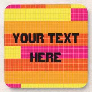 Orange Pink Yellow Pixel Pattern Beverage Coaster