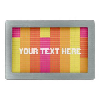 Orange Pink Yellow Pixel Pattern Rectangular Belt Buckle