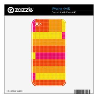 Orange Pink Yellow Pixel Pattern Skins For iPhone 4
