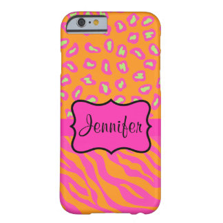 Orange Pink Zebra Leopard Skin Name Personalized Barely There iPhone 6 Case