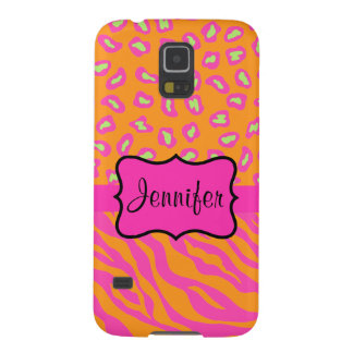 Orange Pink Zebra Leopard Skin Name Personalized Cases For Galaxy S5