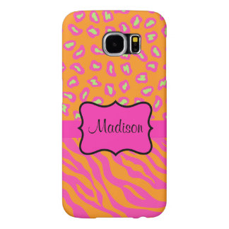 Orange Pink Zebra Leopard Skin Name Personalized Samsung Galaxy S6 Cases