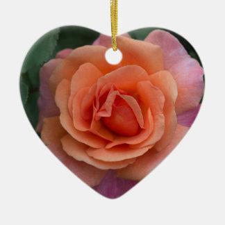 Orange Pinwheel Rose Ceramic Ornament