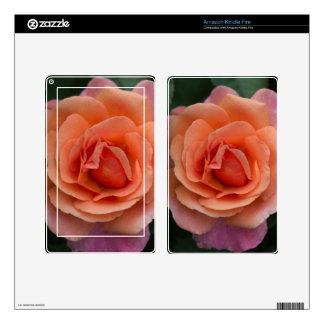 Orange Pinwheel Rose Decal For Kindle Fire