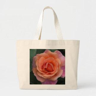 Orange Pinwheel Rose Large Tote Bag