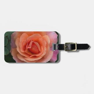 Orange Pinwheel Rose Luggage Tag