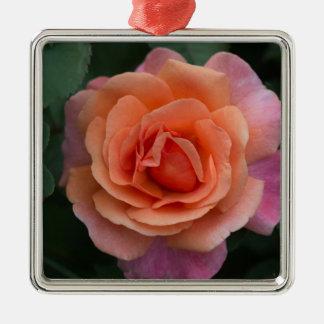 Orange Pinwheel Rose Metal Ornament