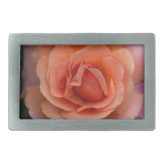 Orange Pinwheel Rose Rectangular Belt Buckle