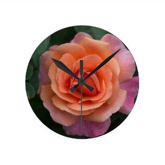 Orange Pinwheel Rose Round Clock