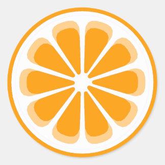 orange pinwheel classic round sticker