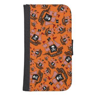 Orange pirate ship pattern galaxy s4 wallet case
