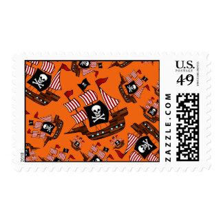 Orange pirate ships postage stamp