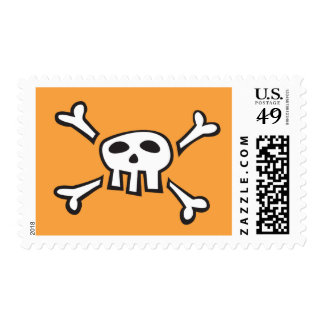 Orange pirate skull cartoon postage stamp