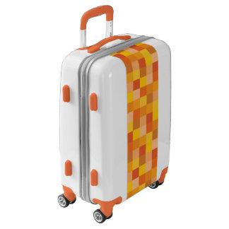 Orange Pixelated Pattern Luggage