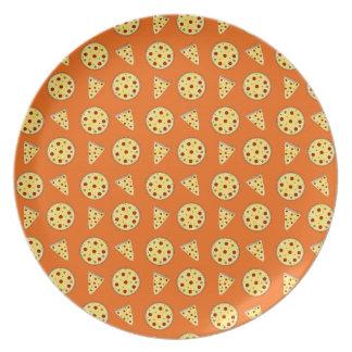 Orange pizza pattern melamine plate