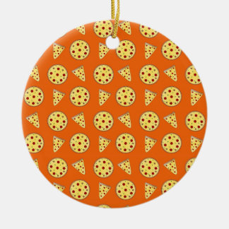 Orange pizza pattern christmas ornament