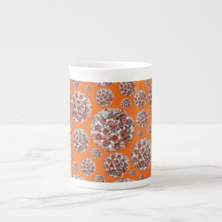 Orange pizza pies bone china mugs